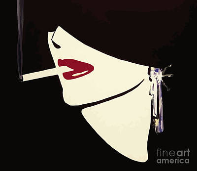 Red Lipstick Painting - Art Deco Fashion Beauty by Mindy Sommers