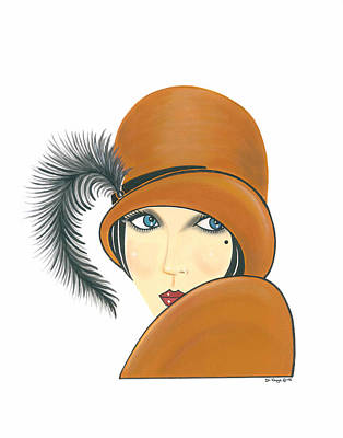 Art Deco Lady - Ginger Print by Di Kaye