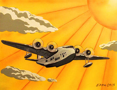 Art Deco Plane Poster Original by Emma Childs