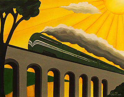 Art Deco Train Poster Original by Emma Childs