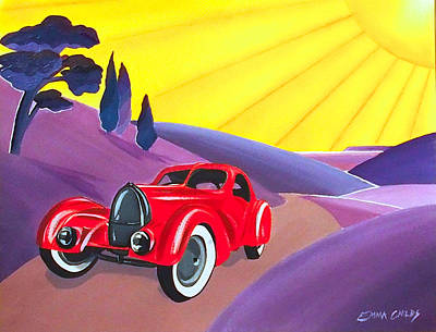 Frank Lloyd Wright Painting - Art Deco Vintage Car by Emma Childs