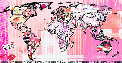 Teen Licensing Mixed Media - Art Map Pink Love by WALL ART and HOME DECOR