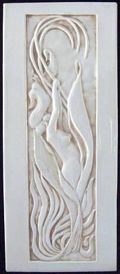 Ceramic Sculpture - Art Nouveau Lily Woman by Shannon Gresham