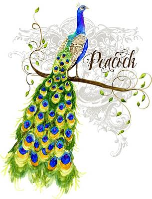 Peacock Mixed Media - Art Nouveau Peacock W Swirl Tree Branch And Scrolls by Audrey Jeanne Roberts
