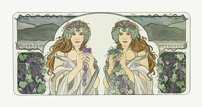 Art Nouveau Pinot Noir Vineyard Print by Dee Van Houten