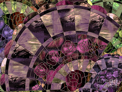 Glass Wall Painting - Art Nouveau Stained Glass Fan by Mindy Sommers
