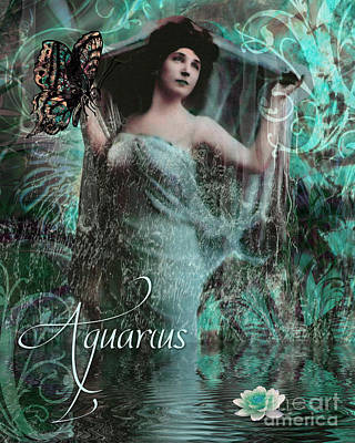 Zodiac Painting - Art Nouveau Zodiac Aquarius by Mindy Sommers