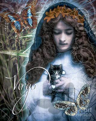 Zodiac Painting - Art Nouveau Zodiac Virgo by Mindy Sommers