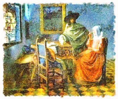 Glass Of Wine Mixed Media - Art Style Vermeer by Mario Carini
