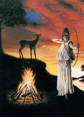 Wicca Painting - Artemis Protector Of The Night by Neil Geddes-Ward