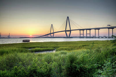 High Dynamic Range Photograph - Arthur Ravenel Bridge Sunset by Dustin K Ryan