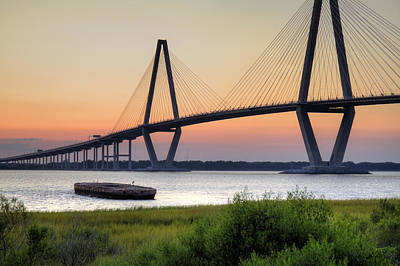 Hdr High Dynamic Range Photograph - Arthur Ravenel Jr. Bridge Sunset by Dustin K Ryan