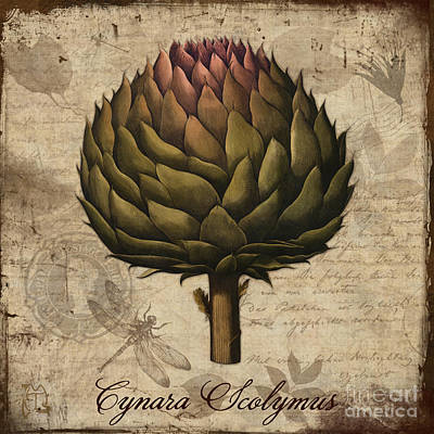 Artichoke Digital Art - Artichoke, Cynara Scolymus Artichoke Vintage Botanicals by Tina Lavoie