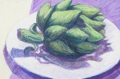 Artichoke Drawing - Artichoke On A White Plate by Dolores Holt
