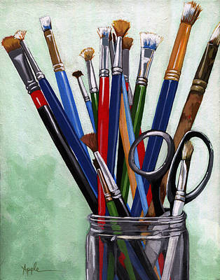 Painting - Artist Brushes by Linda Apple