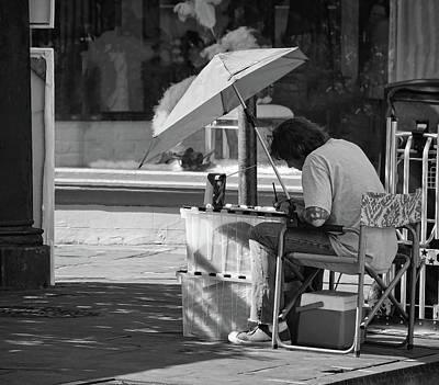 Artist - French Quarter - New Orleans - B/w 1b Print by Greg Jackson