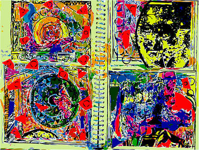 Xerox Art Mixed Media - Artist Journal Pages With Mona Lisa by F Burton