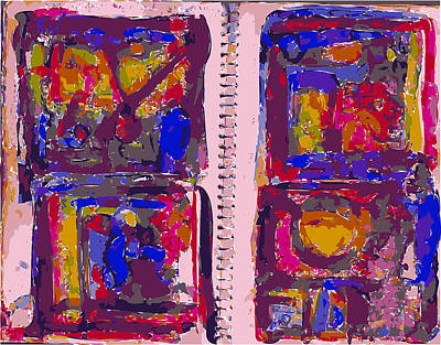 Xerox Art Mixed Media - Artist Journal With Color Studies by F Burton