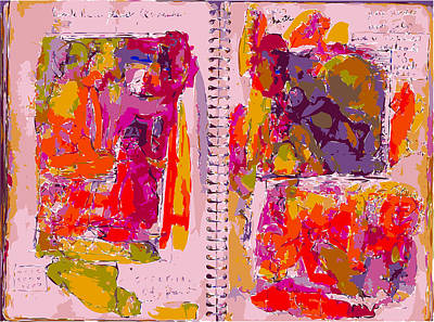 Xerox Art Mixed Media - Artist Journal With Red Color Studies by F Burton