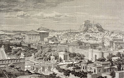 Impression Drawing - Artist S Impression Of Athens, Greece by Vintage Design Pics