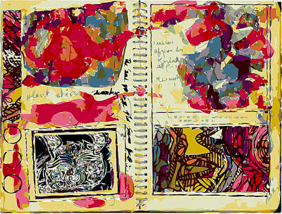 Xerox Art Mixed Media - Artist Sketchbook Page With Tattooed Hare And Watercolor Washes by F Burton