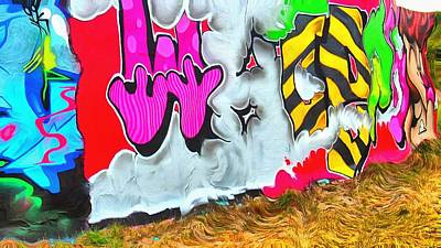 Abstract Digital Art - Artistic Surreal Graffiti Wall by Marco De Mooy