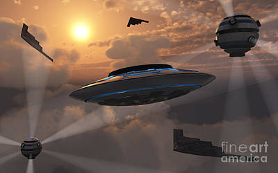 Artists Concept Of Alien Stealth Print by Mark Stevenson