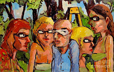 Temperament Painting - Artists In The Garden by Charlie Spear