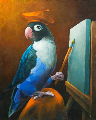 Lovebird Painting - Arty by Vanessa Bates
