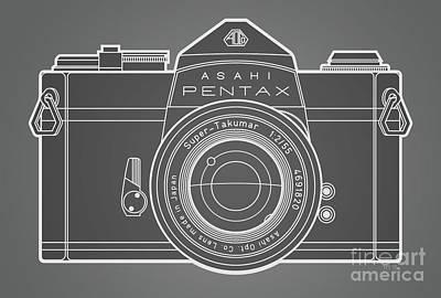 Asahi Pentax 35mm Analog Slr Camera Line Art Graphic White Outline Print by Monkey Crisis On Mars