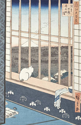 Window Drawing - Asakusa Rice Fields And Festival Of Torinomachi From The Series One Hundred Famous Views Of Edo by Hiroshige