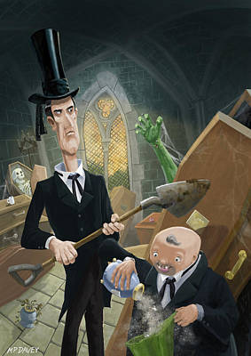 Ashes Fun In The Funeral Crypt Print by Martin Davey