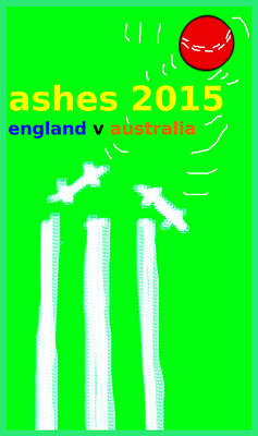 Cricket Drawing - Ashes Poster  by Paul Sutcliffe