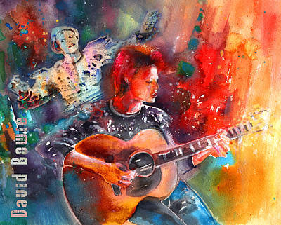 With Guitar Painting - Ashes To Ashes In Space Oddity by Miki De Goodaboom