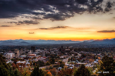 Asheville From Above Print by Walt  Baker