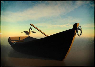Rowboat Mixed Media - Ashore... by Tim Fillingim