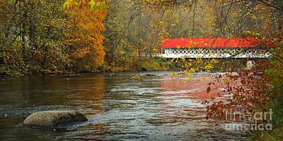 New Hampshire Autumn Photograph - Ashuelot Bridge by Jon Holiday