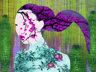 Asian Flower Woman Purple Print by Tony Rubino