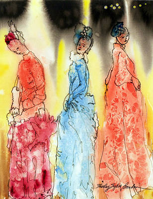 Stage Lights Drawing - Asian Three by Shirley Sykes Bracken