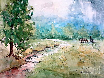 Babbling Brook Painting - Aska Farm Creek by Gretchen Allen