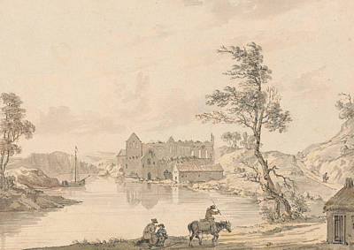 18th Century Painting - Askeaton Abbey Near Limerick, Ireland On The River Deel by Paul Sandby