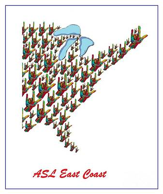 Asl East Coast Map Print by Eloise Schneider