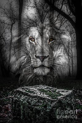 Aslan And The Stone Table Print by Michael Arend