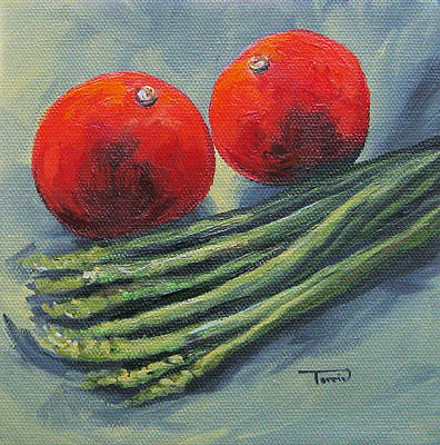 Asparagus Painting - Asparagus And Tomato  by Torrie Smiley