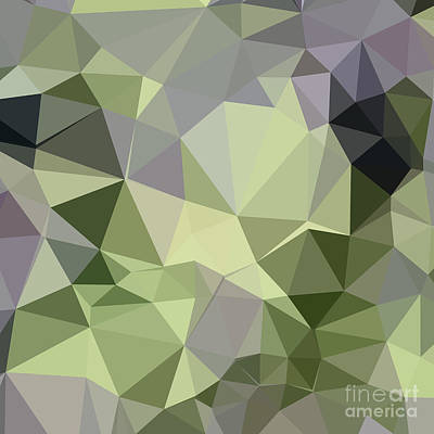Asparagus Digital Art - Asparagus Green Abstract Low Polygon Background by Aloysius Patrimonio