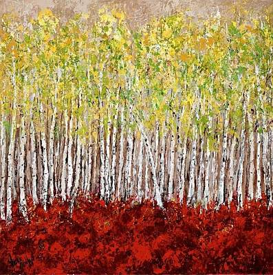 Conlon Painting - Aspen Birch Tree Grove by Vicki Conlon