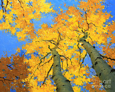 Vibrant Color Painting - Aspen Sky High  by Gary Kim