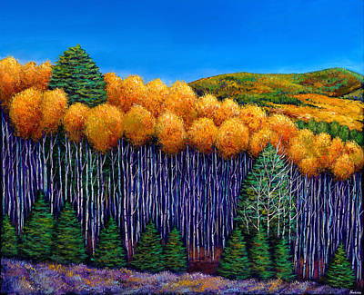 Impressionistic Landscape Painting - Aspen Slopes by Johnathan Harris
