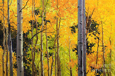 Southwestern Landscape Painting - Aspen Trees by Gary Kim