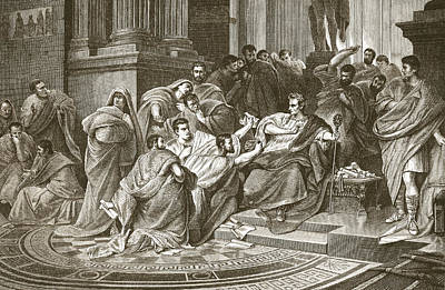 Assassination Of Julius Caesar Print by English School